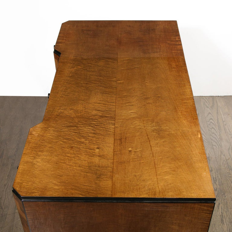 Art Deco Desk in Bookmatched Amboyna and Burled Elm Desk with Cubist Detailing For Sale 8