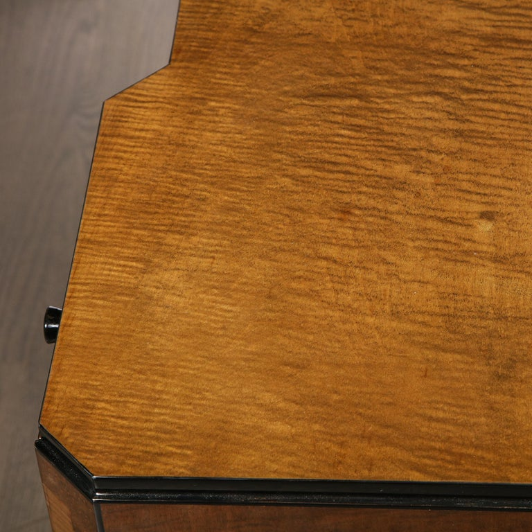 Art Deco Desk in Bookmatched Amboyna and Burled Elm Desk with Cubist Detailing For Sale 9