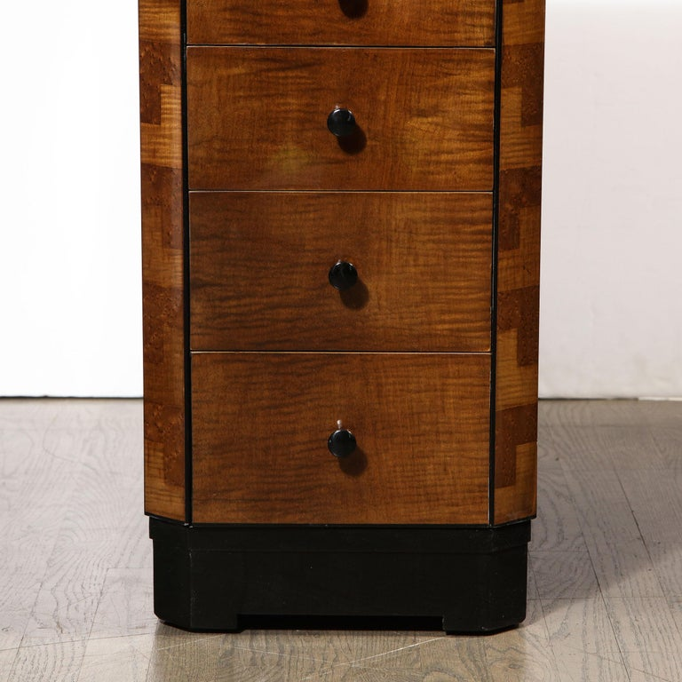 American Art Deco Desk in Bookmatched Amboyna and Burled Elm Desk with Cubist Detailing For Sale