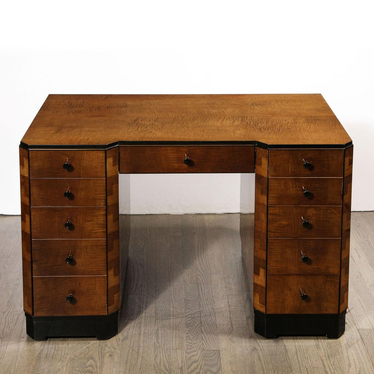 Art Deco Desk in Bookmatched Amboyna and Burled Elm Desk with Cubist Detailing In Excellent Condition For Sale In New York, NY