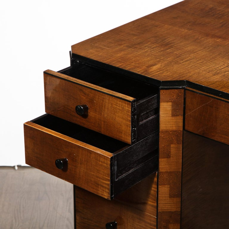 Art Deco Desk in Bookmatched Amboyna and Burled Elm Desk with Cubist Detailing For Sale 1