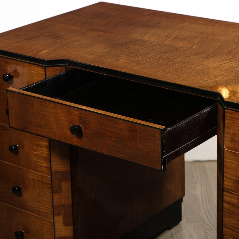 Art Deco Desk in Bookmatched Amboyna and Burled Elm Desk with Cubist Detailing For Sale 2
