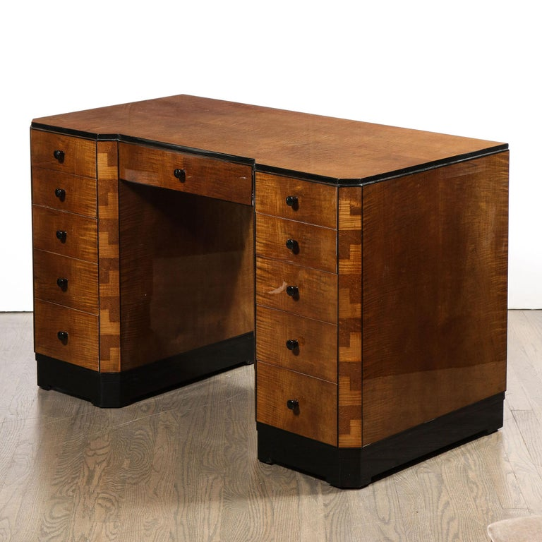 Art Deco Desk in Bookmatched Amboyna and Burled Elm Desk with Cubist Detailing For Sale 3