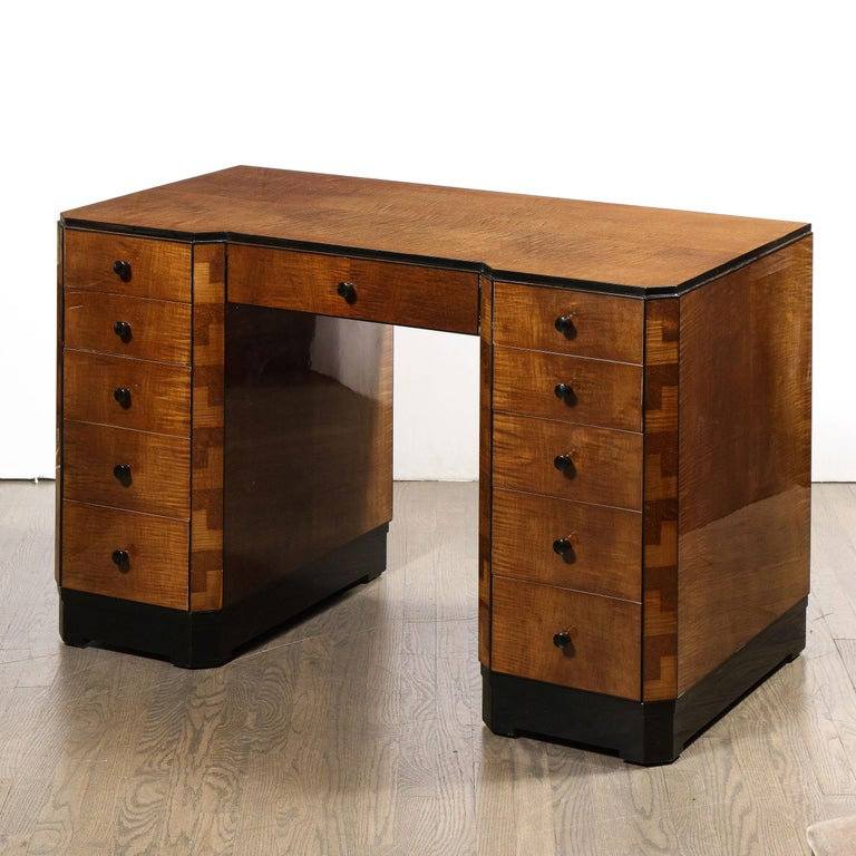 Art Deco Desk in Bookmatched Amboyna and Burled Elm Desk with Cubist Detailing For Sale 4