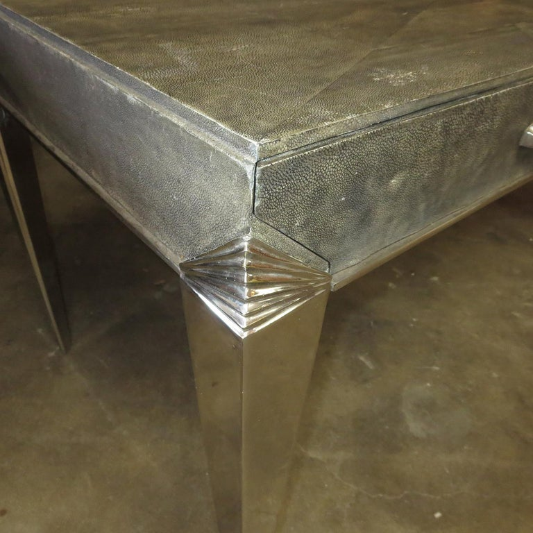 French Art Deco Desk in Shagreen and Polished Nickel For Sale