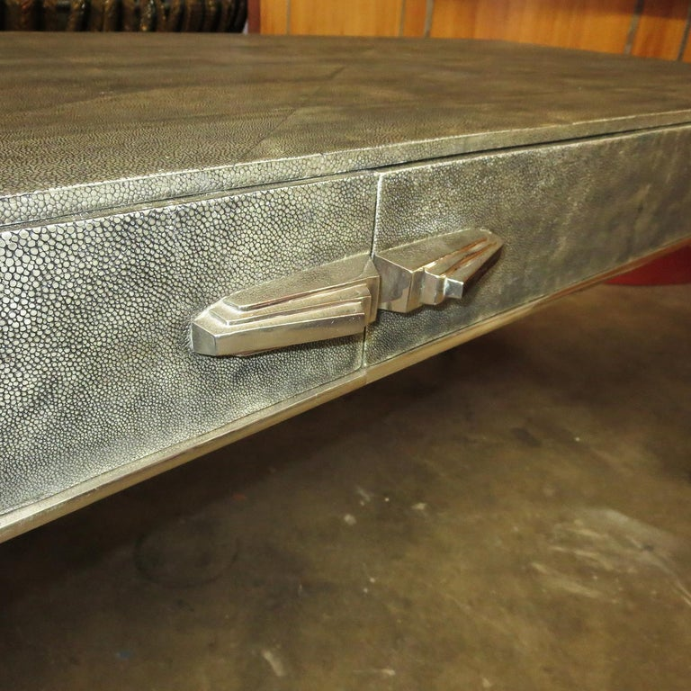 Plated Art Deco Desk in Shagreen and Polished Nickel For Sale