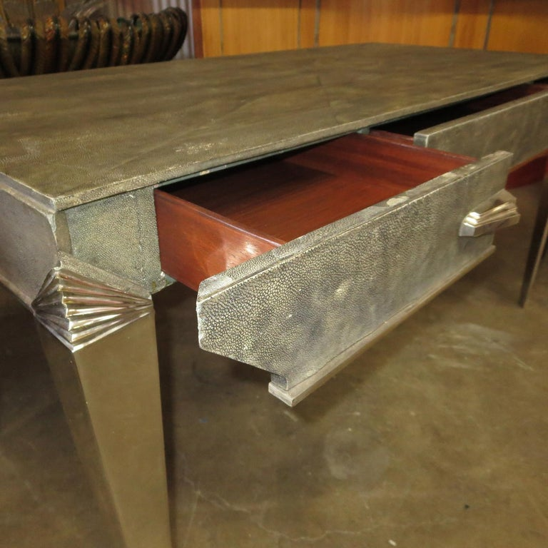 Art Deco Desk in Shagreen and Polished Nickel In Good Condition For Sale In North Hollywood, CA