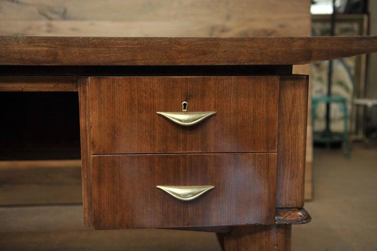 Brass Art Deco Desk by  Sanyas & Popot, France , circa 1930 For Sale