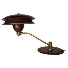 Art Deco Desk Lamp with Large Double Saucer Shade by Art Specialty Co.