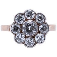 Art Deco Diamond 14 Karat Gold Flower Cluster Ring
