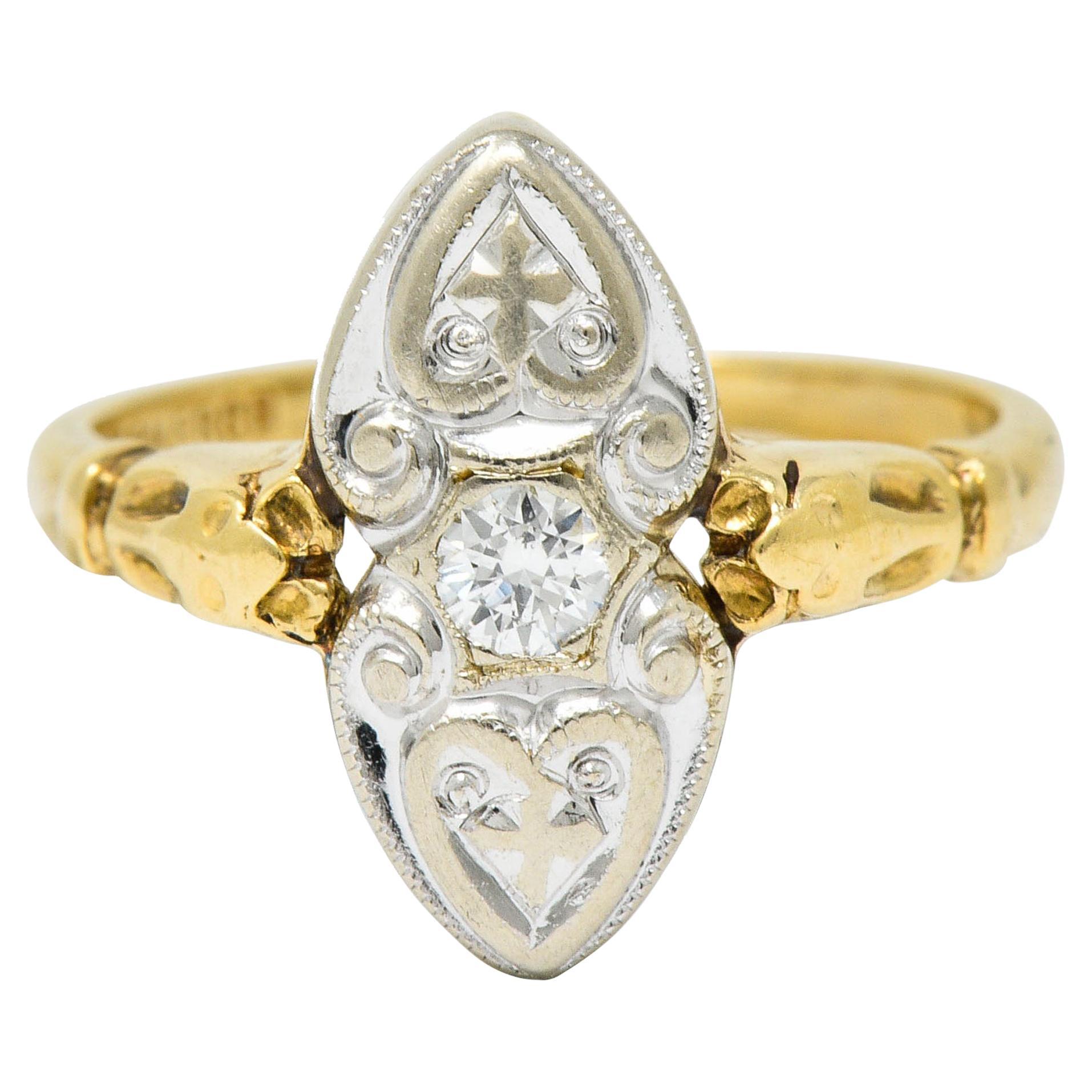 Art Deco Diamond 14 Karat Two-Tone Gold Dinner Ring