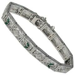 Art Deco Diamond 14 Karat White Gold Bracelet