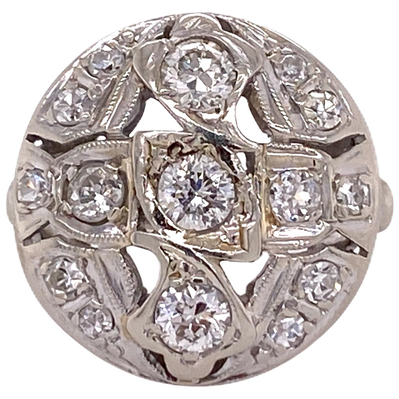 Art Deco Diamond 14 Karat White Gold Vintage Ring Old European Cut Diamonds