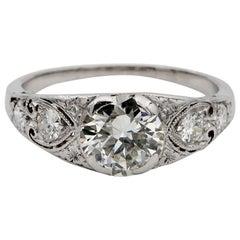 Art Deco Diamond 1.55 Carat Plus I VS2 Rare Platinum Engagement Ring