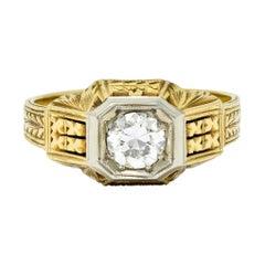 Art Deco Diamond 18 & 14 Karat Two-Tone Gold Unisex Octagonal Ring