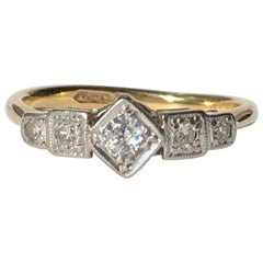 Art Deco Diamond, 18 Carat Gold and Platinum Five-Stone Panel Ring