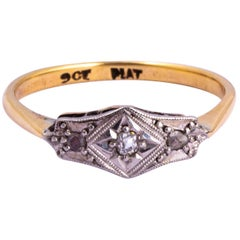 Art Deco Diamond, 9Carat Gold and Platinum Panel Ring