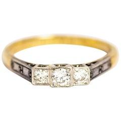 Art Deco Diamond, 18 Carat Gold and Platinum Ring