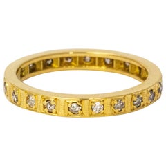Art Deco Diamond 18 Carat Gold Full Set Eternity Band