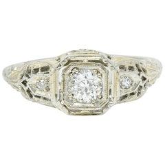 Art Deco Diamond 18 Karat White Gold Cushion Engagement Ring