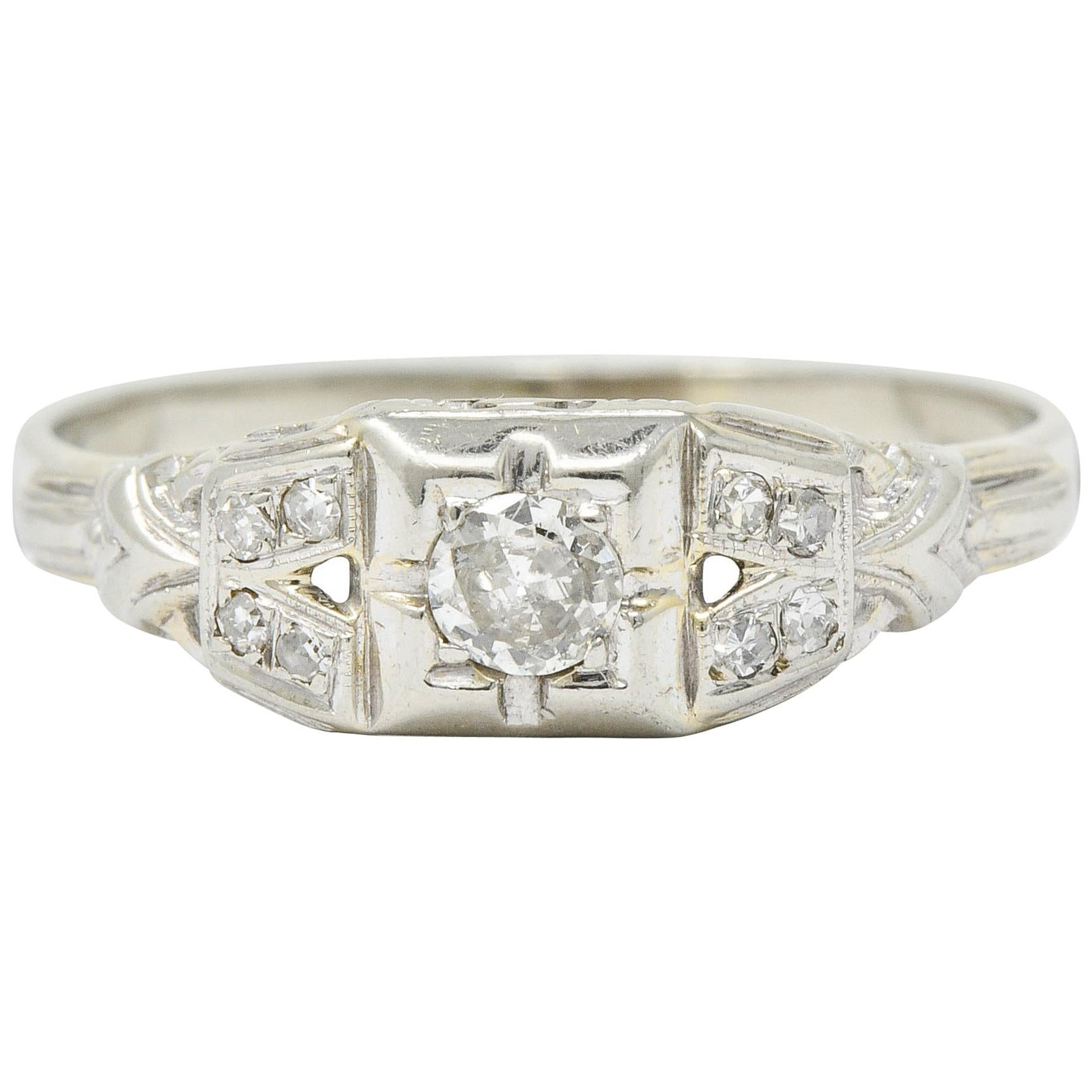 Art Deco Diamond 18 Karat White Gold Engagement Ring