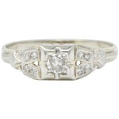 Art Deco Diamond 18 Karat White Gold Engagement Ring