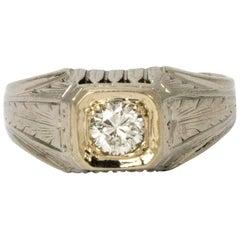 Art Deco Diamond 18 Karat White Gold Ring