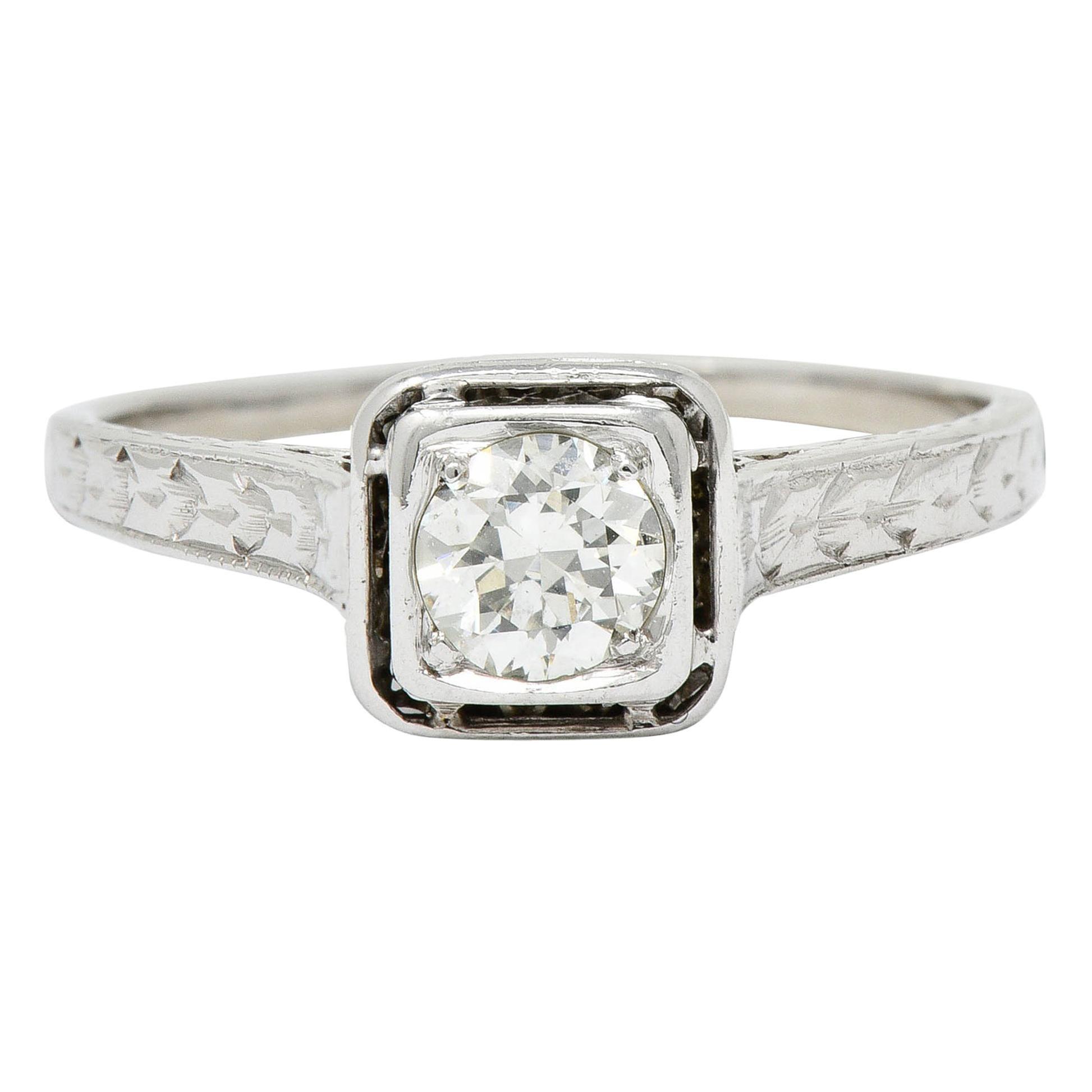 Art Deco Diamond 18 Karat White Gold Trellis Engagement Ring