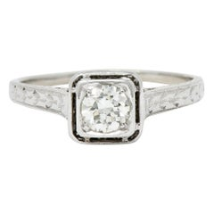 Art Deco Diamond 18 Karat White Gold Trellis Engagement Ring
