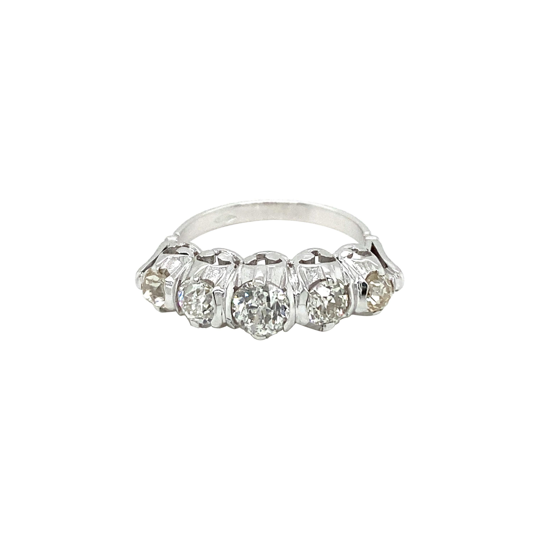 Art Deco Diamond 1.90 Carat Five-Stone Gold Ring