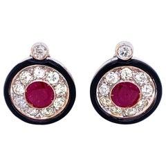 Art Deco Diamond 2.50 Carat Ruby Onyx Gold Cluster Earrings