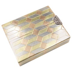 Art Deco Diamond and 14 Carat Tri-Colour Gold Vanity Case by Cartier