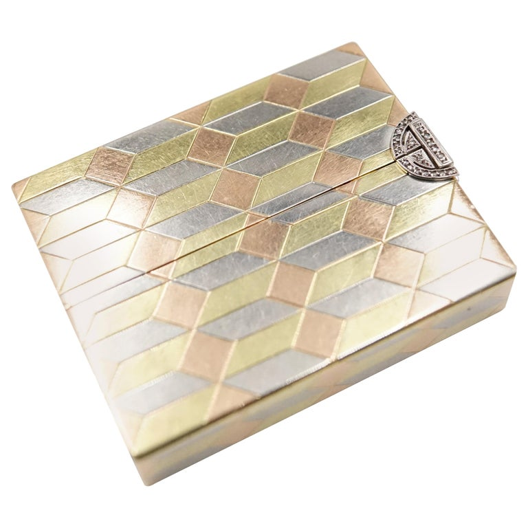 Art Deco Diamond and 14 Carat Tri-Colour Gold Vanity Case by Cartier For Sale