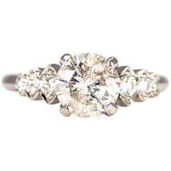 Art Deco Style Diamond and 14 Carat White Gold Solitaire