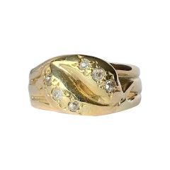 Art Deco Diamond and 18 Carat Gold Double Snake