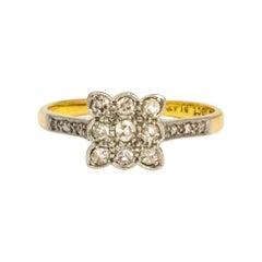 Art Deco Diamond and 18 Carat Gold Panel Ring
