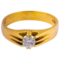 Art Deco Diamond and 18 Carat Gold Solitaire Ring