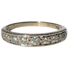 Art Deco Diamond and 18 Carat White Gold Half Eternity Band