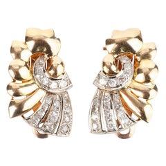 Art Deco Diamond and 18 Karat Gold Earrings
