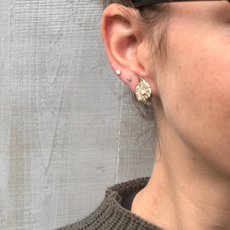 Women's Art Deco Diamond and 9 Carat Gold Leaf Clip-On Earrings For Sale