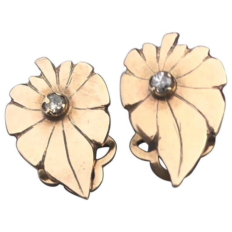 Art Deco Diamond and 9 Carat Gold Leaf Clip-On Earrings For Sale