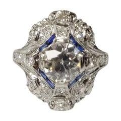 Art Deco Diamond and Blue Sapphire Ring, 1.46 Carat Old European Cut Diamond, PT