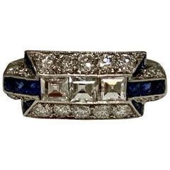 Art Deco Diamond and Blue Sapphire Ring in Platinum