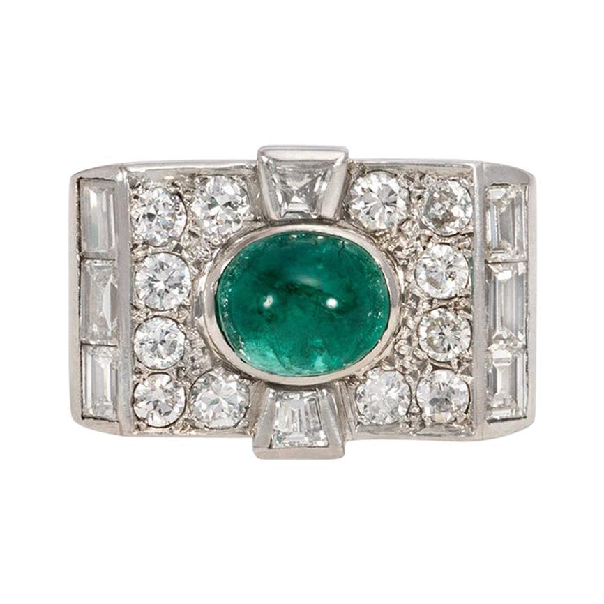 Art Deco Diamond and Cabochon Emerald Ring in Platinum