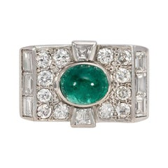 Art Deco Diamond and Cabochon Emerald Ring in Platinum