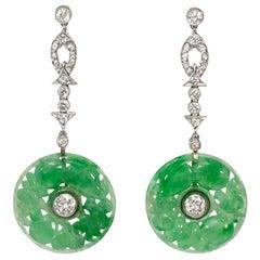 Art Deco Diamond and Carved Jade Disk Pendant Earrings in Platinum