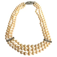 Art Deco Diamond and Cultured Pearl Triple Row Necklace