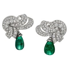 Art Deco Diamond and Emerald Bead Drop Earrings