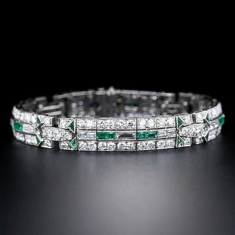 Square Cut Art Deco Diamond and Emerald Bracelet For Sale