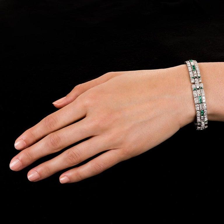 Women's or Men's Art Deco Diamond and Emerald Bracelet For Sale